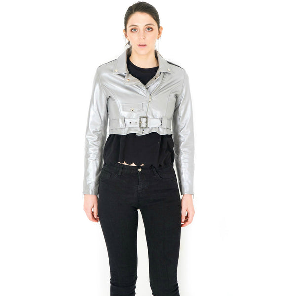 TARA SHORT LAMB LEATHER JACKET - GRAY - NOTTEVERA