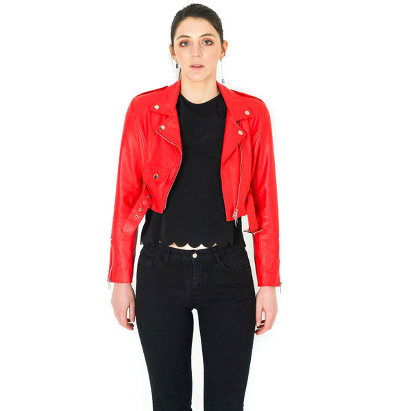 TARA SHORT LAMB LEATHER JACKET - RED