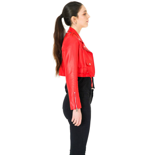 TARA SHORT LAMB LEATHER JACKET - RED - NOTTEVERA