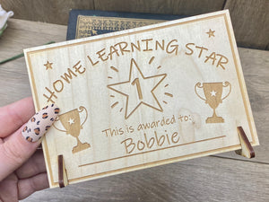 Home Learning Star - Personalised Wooden Certificate