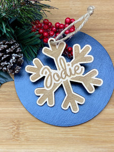 Personalised Wooden Snowflake Decorations