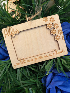 You left paw prints on our hearts - Personalised pet memorial tree frame