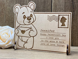 Love Letter - Wooden Bear Postcard
