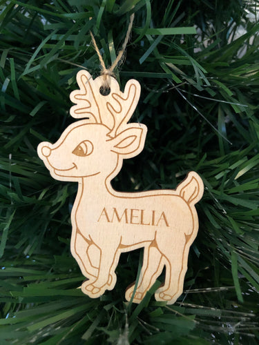 Personalised Wooden Reindeer Decoration