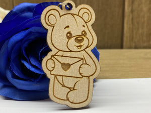 Love Letter Bear - Wooden Teddy Bear Keyring