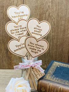 "5 Reasons Why I Love You - Wooden Heart ""Bouquet"""
