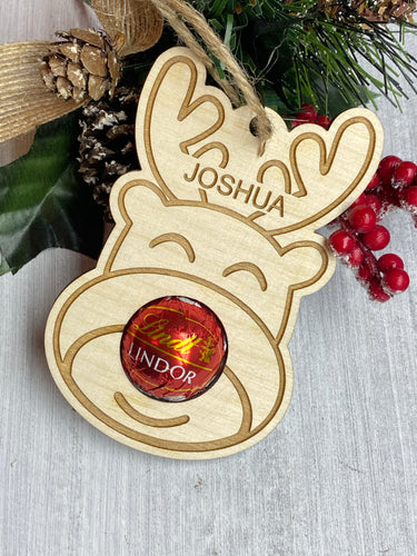 Personalised Reindeer Chocolate Truffle Decoration