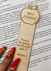 Personalised Teacher Apple Bookmark