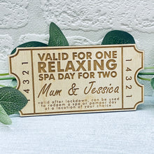 Load image into Gallery viewer, Relaxing Spa Day for Two- Personalised Wooden Mother's Day Coupon