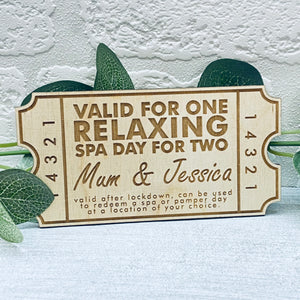 Relaxing Spa Day for Two- Personalised Wooden Mother's Day Coupon