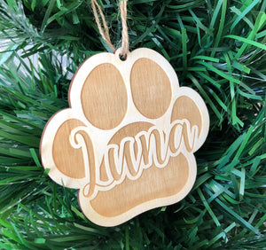 Personalised Paw Print Wooden Bauble