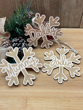 Load image into Gallery viewer, Personalised Wooden Snowflake Decorations