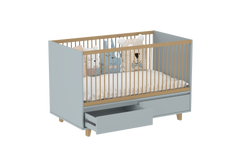 Elegant Light Crib with 2 Drawers in Steam Grey