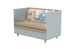 Elegant Light Crib with 2 Drawers and Folding Sides in Steam Grey
