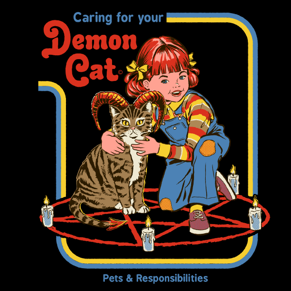 9325126d Caring for Your Demon Cat Ringer Shirt