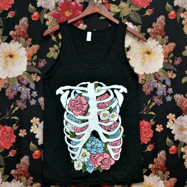 'Floral Rib Cage' Tank Top