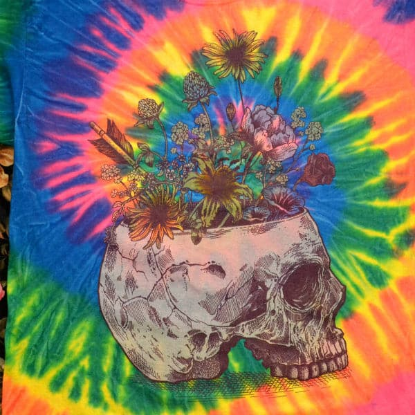 'Skull With Flowers' Tie Dye Shirt