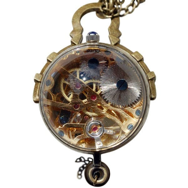 Victorian Glass Clock Necklace