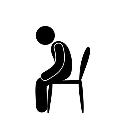 icon of a worried man sitting on a chair