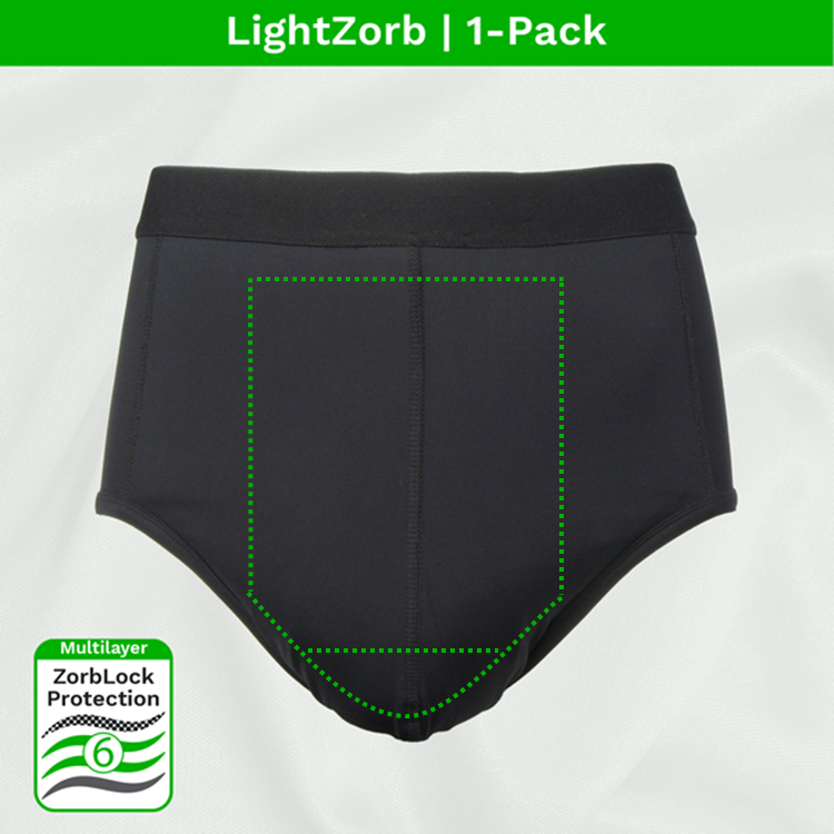 Zorbies Washable Incontinence Underwear Light Absorbent Brief 1pk