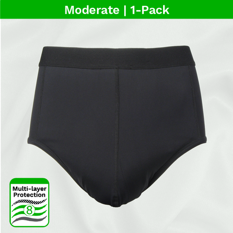 product image - men's moderate absorbent incontinence black brief 1pk