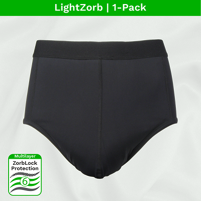 Zorbies Men's Incontinence Underwear. Washable and reusable, light absorbent brief with 6 layers of premium protection against drips and dribbles.