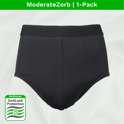 Zorbies Incontinence Underwear for men. Washable and reusable moderate absorbent brief with 8 layers of premium protection against light to moderate leaks.