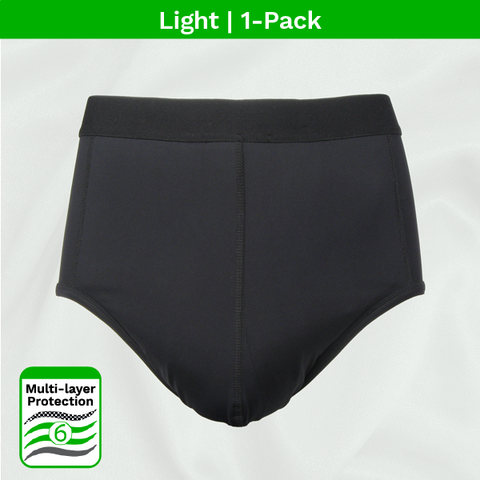 product image - men's light absorbent incontinence black brief 1pk