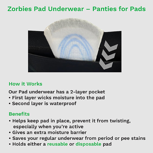 zorbies pad panties - key product features and benefits
