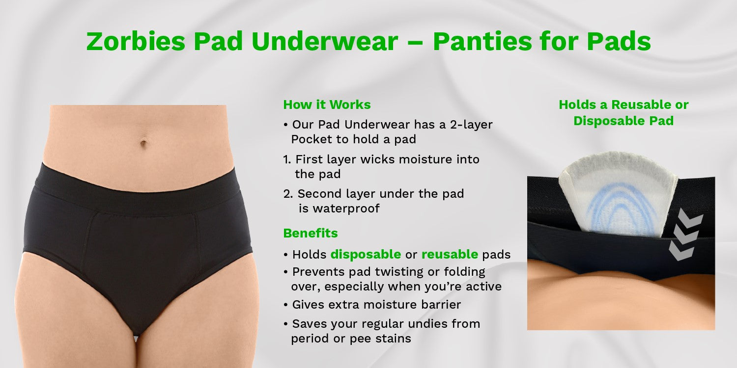 zorbies women's pad underwear key product features and benefits