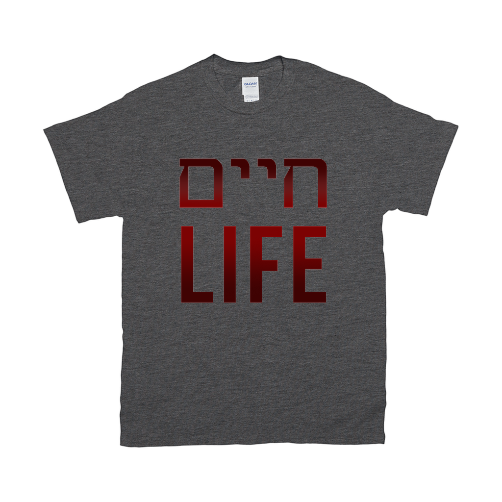 "T-Shirts ""LIFE"" + Hebrew product shot"