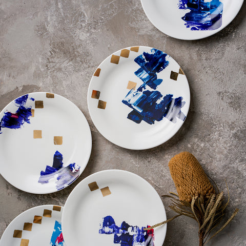 6 Pcs Blue Plate Set