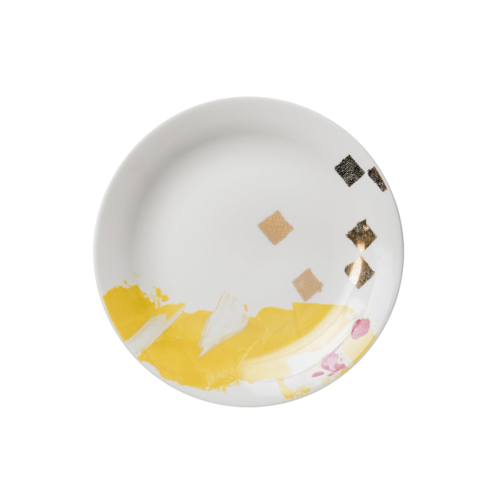 gold and dot design porcelain plate
