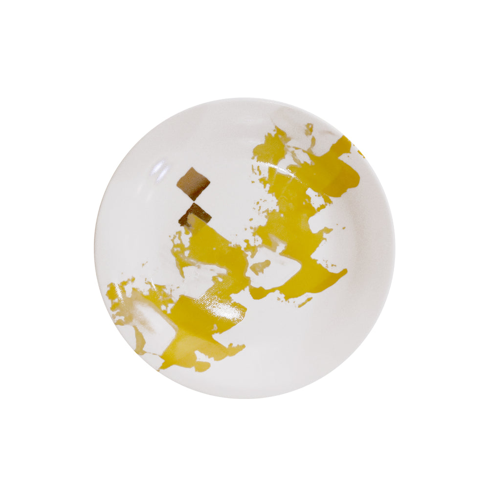 gold dot with painted design ceramic plate