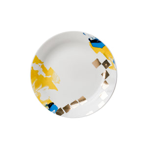 blue yellow gold artistic design plates