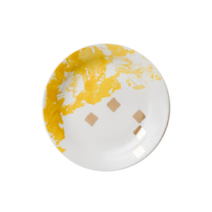 yellow and gold design plate set