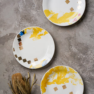 yellow with gold luxury artistic dinner collection, doted design plates