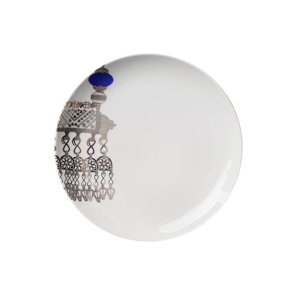 ornamental silver design on ceramic plate