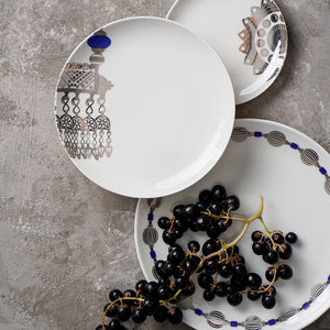 Porcelain plate with silver and blue design, traditional ceramic dinner set, classic design plate set