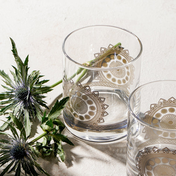 traditional pattern on water glass