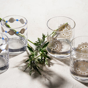 water glasses with design