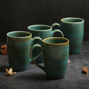 Hand Brushed Mug Set - 4 Pcs