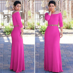 2020 new off-the-shoulder 3/4 sleeve high waist long dress