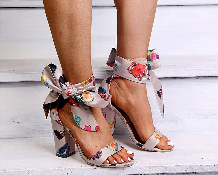 2020 summer ethnic wind color bow strap sandals