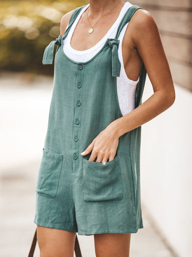 U-neck cotton and linen overalls