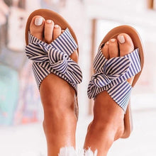 Load image into Gallery viewer, Plus size striped ladies bow slippers