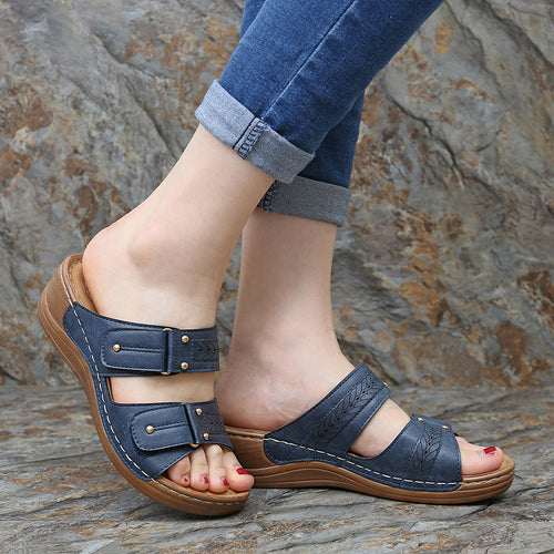 Casual hook and loop wedge sandals