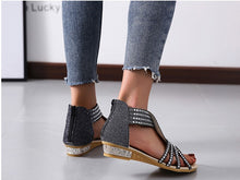 Load image into Gallery viewer, Women's wedge low-heeled metal sandals