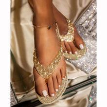 Load image into Gallery viewer, 【Bestseller 💝Flash Sale⭐ Factory Outlet】Women's Rhinestone Flat Slippers