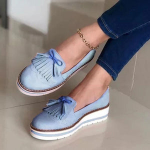 PU tassel women's casual flat lazy shoes